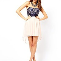 Elise Ryan Contrast Lace Bow Waist Dress at asos.com