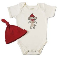 SOCK MONKEY BABYSUIT WITH HAT | Monkey Baby Clothes, Onesuit | UncommonGoods