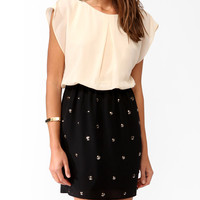 Studded Blouson Contrast Dress