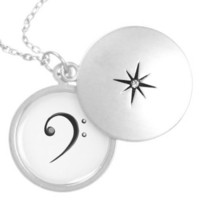 Bass Clef Casual Style Black and White Version Necklaces from Zazzle.com