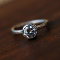 Engagement Ring - Bridal Jewelry - Recycled Sterling Silver - Brilliant Cubic Zirconia - Rustic Hammered Band