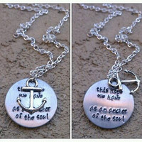 This Hope We Have- Hand Stamped Necklace With Anchor Charm