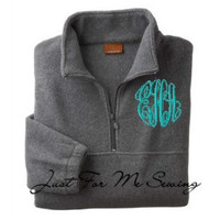 Monogrammed Half-zip pullover jacket-Adult Sizes