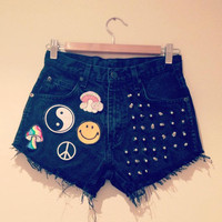 High waisted vintage denim studded shorts with 90&#x27;s grunge patches