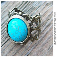 Rustic Lace and Turquoise Adjustable Filigree Band Ring