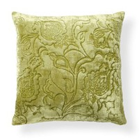 "Velvet Matelasse 22"" Pillow in Green - Villa Home Collection 