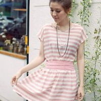 Cute Hot Sale Online Pink Stripe Girls Dresses : Yoco-fashion.com