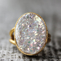 WINTER SALE Gold White Titanium Druzy Ring - Adjustable Ring - Dreamy Sparkles