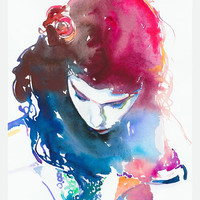 Print of Watercolour Fashion Illustration - Audrey Tautou