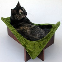 Retro Modern Pet Bed in Avocado Velvet by likekittysville on Etsy