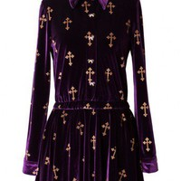 Golden Cross Stamped Velvet Dress Top in Purple - New Arrivals - Retro, Indie and Unique Fashion