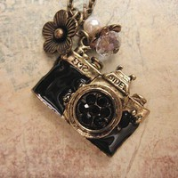 Take a picture a vintage camera necklace by trinketsforkeeps