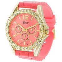 Geneva Platinum 7846 Women&#x27;s Decorative Chronograph Rhinestone-accented Silicone Watch-CORAL/GLD