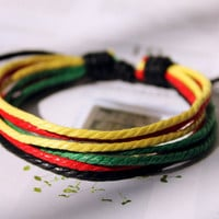 Winter Gift Handmade Lucky Multicolored cotton waxed cord Adjustable Wrap Bracelet M-10