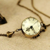 Vintage Fashion Pocket Watch Bell Necklace