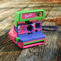 Barbie Polaroid camera pink purple green neon flowers 600 Film