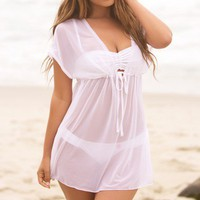 Mesh White Baby Doll Swimsuit Cover Up Tunic - Chynna Dolls