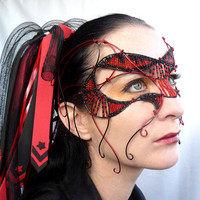 Red and black cyber goth masquerade mask, handmade
