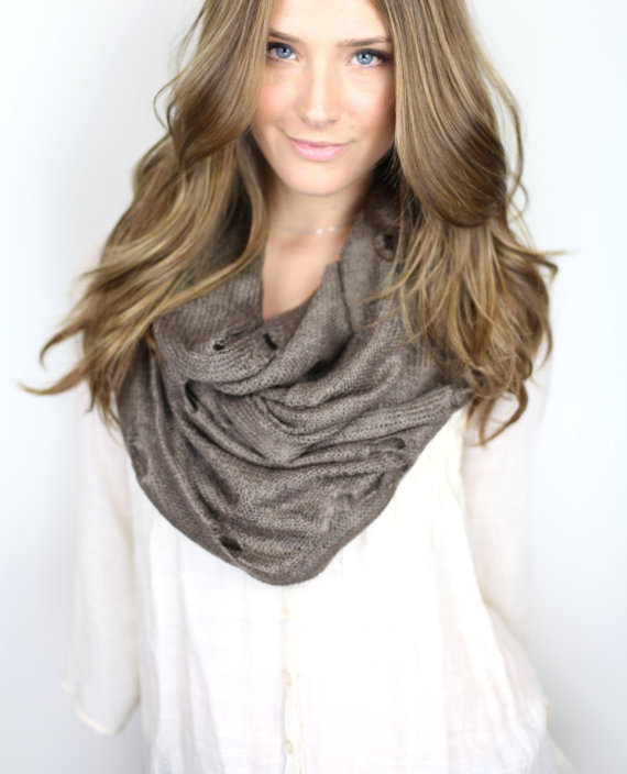 brown chunky infinity scarf vintage from gertiebaxter on etsy