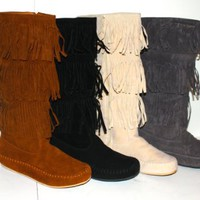 Chick&Stylish - Women's Faux Suede Moccasin Fringe Mid Calf Boots in Black, Camel, Grey, Beige