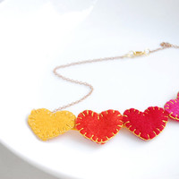 Felt heart necklace - cute hearts bib necklace in red pink yellow and orange, kawaii necklace