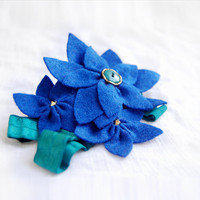 Navy blue flower headband - felt flower with green elastic headband, bridesmaid and flower girl headband