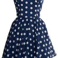 Polka Dot Party Dress - Navy Blue