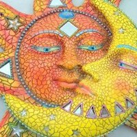 Amazon.com: Decorative Unique Sun &amp; Moon Mosaic Hanging Wall Home Garden Decor Mirror Art: Home &amp; Kitchen