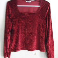Burgundy Red Crushed Velvet Crop Top-90's Grunge Style-Size Medium/Large
