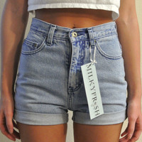 High Waisted Shorts Size 1 / 2 LA Blues Cuffed Denim Milky Fr3sh &quot;Moira&quot;