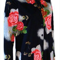 Rose Print Black Vintage 70s Blouse