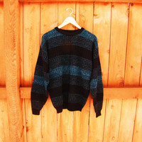 vintage black and teal sweater. grandpa sweater. oversized sweater.  unisex. size S M L. made by Brad Richards