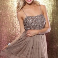 MOCHA MESH RUFFLED SEQUIN SPAGHETTI STRAP PARTY DRESS @ Amiclubwear sexy dresses,sexy dress,prom dress,summer dress,spring dress,prom gowns,teens dresses,sexy party wear,women's cocktail dresses,ball dresses,sun dresses,trendy dresses,sweater dresses,teen