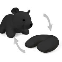 Bear Zip &amp; Flip Travel Pillow (Black)
