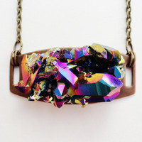 Rainbow quartz necklace MARIAH by FIVEANDTWOshop on Etsy
