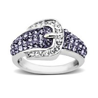 Carnevale Sterling Silver Buckle Shape Purple and White Ring with Swarovski Elements, Size 7