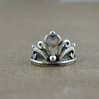 Vintage hollow out crown  925 pure silver  U  ear cuff