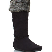 fur-cuff-suede-boot BLACK BROWN TAUPE - GoJane.com