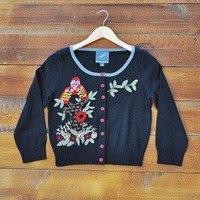 Nesting Birds Cardigan - $88.00: From ourchiox.com, this gorgeous cardigan is adorned with colorful and whimsy owls in a canvas of black.