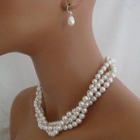 Wedding Jewelry  three strand swarovski by Clairesparklesbridal