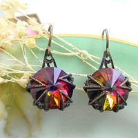 Swarovski Crystal Earrings  Volcano Rivoli by Katofmanycolors