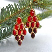 Ruby Red Splash Earrings - $16.00: From ourchoix.com, raindrops of red crystals are captured in gold hued frames.