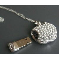 High Quality 8gb Apple Crystal Jewelry USB Flash Memory Drive Necklace