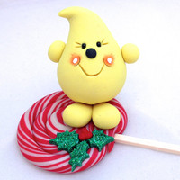 Christmas Peppermint LOLLIPOP StoryBook Scene Polymer Clay Figurine