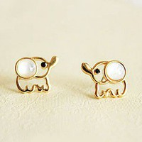 Lovely Beige Opal Elephant Stud Earrings