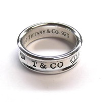 Tiffany & Co 1837 Classic 925 Sterling Silver Designer Ring Band 1997 sz 9