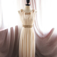 Egyptian Goddess Soft French Cream Chiffon Long Dress Romance Dreamy Alice in Wonderland Flowy Angel Marie Antoinette Gown