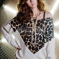 Casual Split Joint Long Sleeve Leopard Blouse: tidestore.com