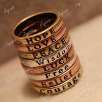 Fashion Hope Love Wisdom Peace Belief Courage Letter Rings Word Wholesale FJ69