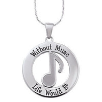 Stainless Steel Without Music Pendant 24 Inch - Earrings, Necklaces, Rings, Bracelets, Pendants and More :: Unique Jewelry at Affordable Prices | Natures Jewelry